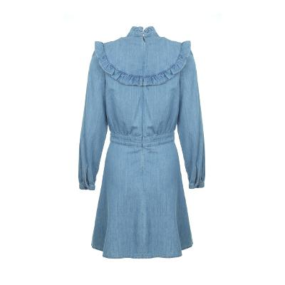frill detail yoke denim dress